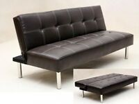 **14-DAY MONEY BACK GUARANTEE!** Click Click Leather Sofabed in Black or Brown - DELIVERED SAME DAY!