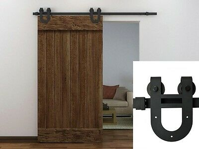 6FT Black European Antique Horseshoe Barn Wood Sliding Door Hardware Track Set