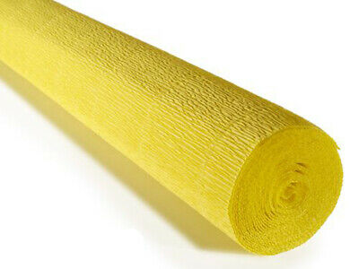 Amarillo Crepe rollo de papel 50cm x 2,5m Alta calidad Italiano arte...