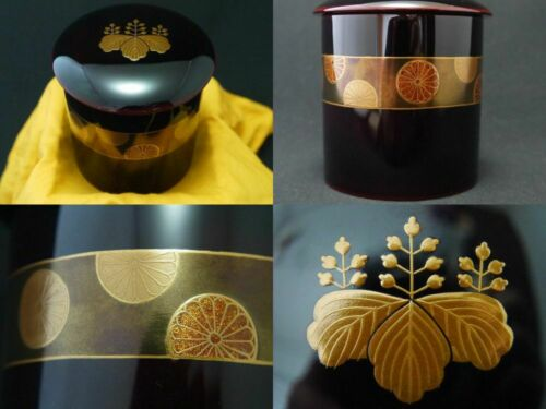 Japan WAJIMA Lacquer WOODEN Tea caddy Stylish design makie Zukiri-Natsume (909)