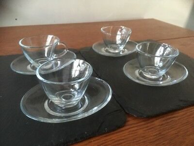 4 X Espresso Cups with Oval Saucers - Clear Glass (Oval Cups & Saucers)