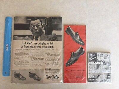 Lot of 3 Vintage Shoe Advertisements 1955 Freeman Florsheim Thom McAn