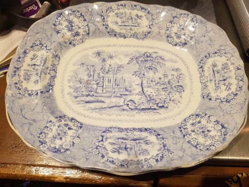 Antique Blue and White Transferware Ridgways ORIENTAL 1830