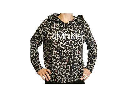 Calvin Klein Womens Long Sleeve Cheetah Print Light Pullover Hoodie Shirt, Z9E