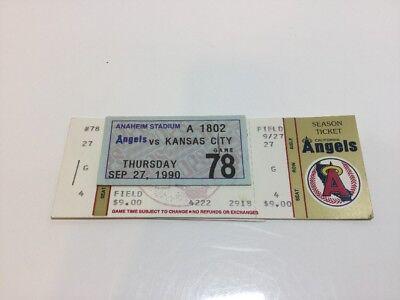 MLB KANSAS CITY VS ANGELS 2 TICKETS UNUSED PARKING & STADIUM CLUB PASS 1990 NEW