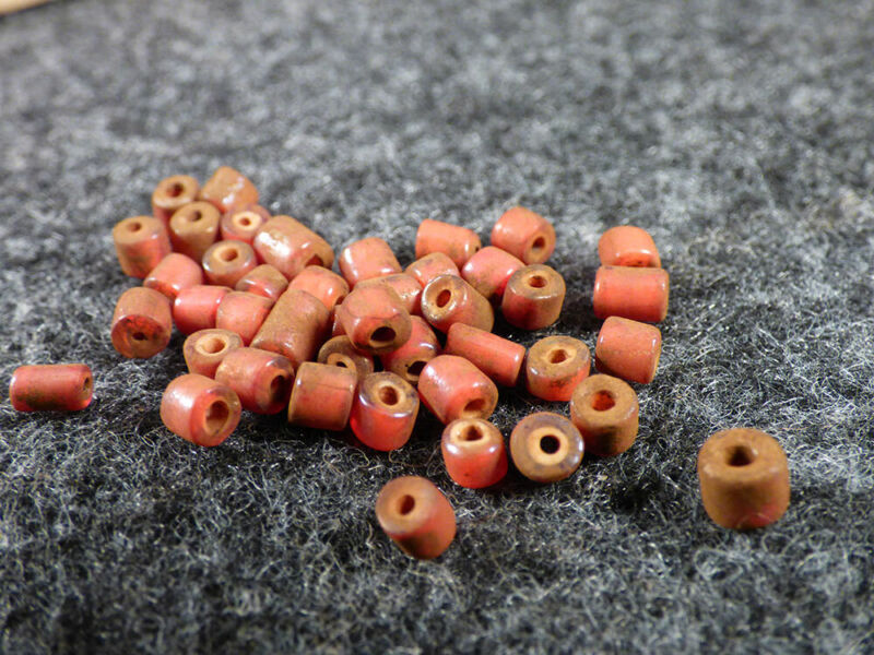 (15) Original Excavated Red White Heart Indian Trade Beads Venetians 1700