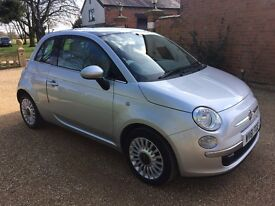 FIAT 500 1.2 Lounge, MOT March 2018, Just Serviced, £30 Tax (silver) 2011