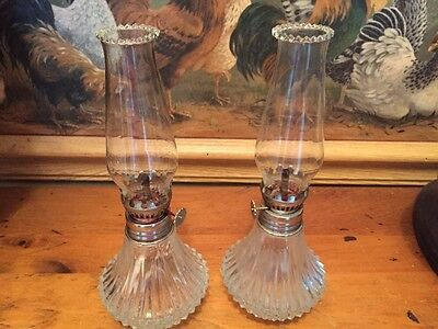 VINTAGE PAIR Mini LAMPLIGHT FARMS Oil Lamps w/ Clear Chimney's