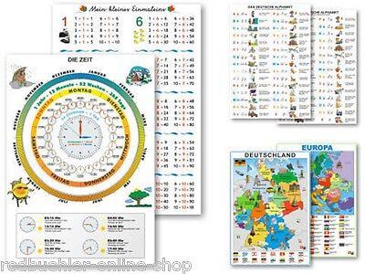Lernkarte Zeit Uhrzeit Deutschlandkarte Lerntafel Übungstafel Tafel Lernhilfe