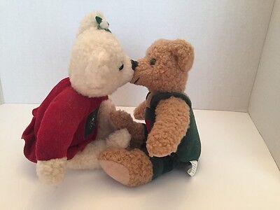 Hallmark Kiss Kiss 10' Mistletoe Plush Bears  Snowflake Red And Green Magnetic