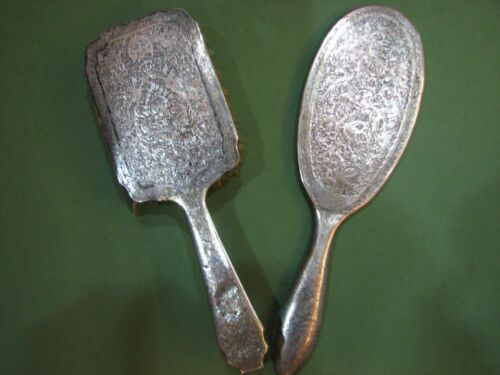 ANTIQUE PERSIAN SOLID SILVER BRUSH AND MIRROR