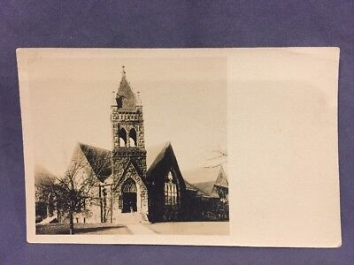 Church Front And Bell Tower Real Photo Postcard