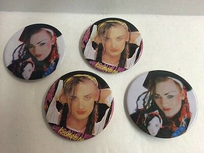Set Of 4 Boy George Button Vintage 80S Culture Club Pin 2 5 In Size