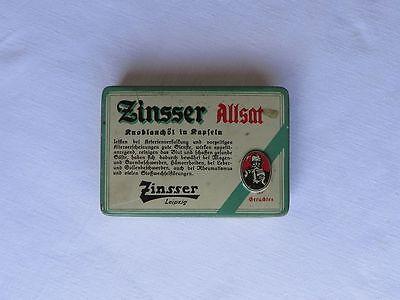 Zinsser Allsat Leipzig, alte Blechdose 1930er Jahre, Knoblauchöl in Kapseln