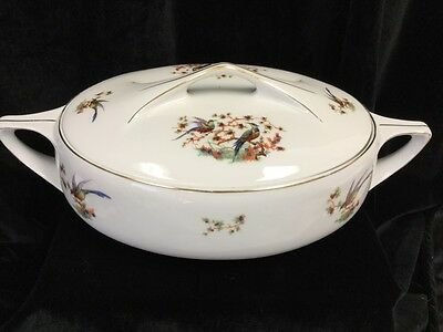 VTG Bohemian Covered Serving Bowl, 13 inches long, 1922-1945 Bird Pattern