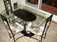 """BEVELED GLASS 6-Pce Table & Chairs—MADE IN CANADA """"Reflections"""""""