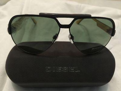 Diesel Sunglasses Men Aviator Black Yellow Grey Tinted Green Lens NWT Dl0026 (Yellow Tinted Aviators)