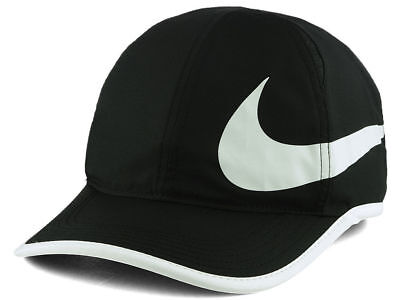 8d3c137c312b7 NIKE Dri-Fit Featherlight black hat cap Running Tennis Golf adjustable NWT