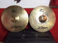 Various cymbals, Zildjian, Sabian, meinl hi hats Crash ride