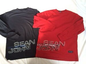 Boys 8 10 Sean John Collection Shirt Lot NEW L/S Black & Red 100% Cotton