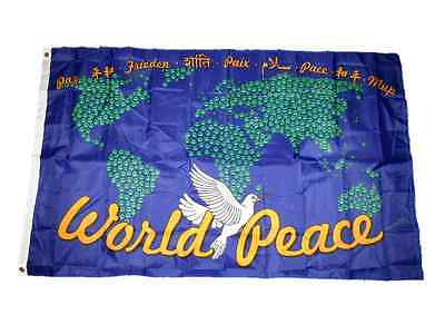 All World Flags (3x5 World Peace Map Dove All Races All Religions 100D Flag 3'x5' Brass)