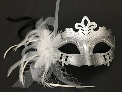 Costume White Silver Masquerade Feather netting Birthday Wedding Party Mask NEW
