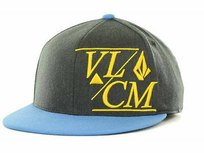 - Volcom 210 Fitted Charcoal and Blue Flex Fit Hat Cap Lid size S/M
