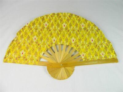 Handheld Fan - Folding Bamboo Fan - Thai Leaf Fabric - Yellow