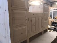 Base unit for 800mm Belfast sink - handmade - solid wood - pine - kitchen unit - Reference: SB800-4