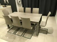 EIGHT 8 Italian Dining Chairs 6 Six Dinning Table Set Grey Putty Taupe Beige Cream Kitchen £2,530