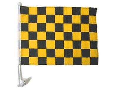"(2 Pack) 12x18 Black Gold Checkered Racing Car Window Vehicle 12""x18"" Flag"