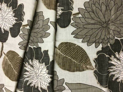 Contemporary Floral Fabric - Drapery Upholstery Fabric Contemporary Blended Linen Floral - Charcoal