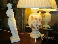 Superbe lampe antique Victorienne/195o verre soyeux PEINT MAIN