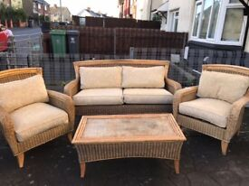 Bamboo Conservatory Sofa Suite Set With Table And Cushions