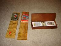 WOODEN CRIB BOARD & CARDS /CARDS & DICE IN A WOODEN BOX/GAMES