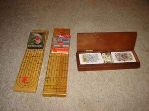 2 WOODEN CRIB BOARDS WITH CARDS & PEGGING PIECES/GAMES