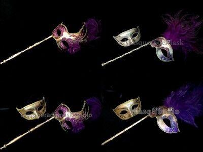 Purple Stick Masquerade Mask Pair Feather Mardi Gras Costume Prom Birthday Party](Stick Girl Costume)