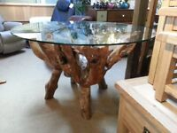 TEAK ROOT DINING TABLE WITH 4 ROOT CHAIRS ALL UNIQUE