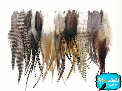 100 Pieces - Wholesale NATURAL Short Rooster Hair Extension Feathers (bulk) - Bulk Feathers