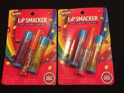 LIP SMACKER Skittles Sweet Treats Lip Collection 3 pc Balm/Gloss Lot of 2!