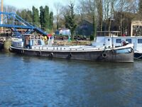 Spacious Dutch Barge With Transferable Mooring Near Kew. 27.16m x 4.88m