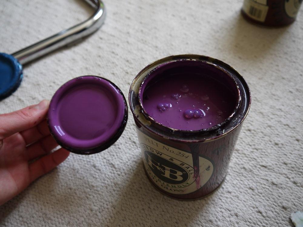 Tin Of Barely Used Farrow Ball Pelt Purple Full Gloss Paint Ideal For Front Door Garden Gate