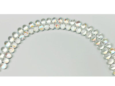 50 Czech Glass Druk Teardrop Beads 5x9mm Crystal AB coated, top drilled, P357 ()