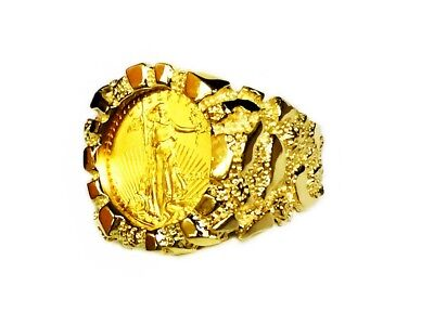 22K FINE GOLD 1/10 OZ US LIBERTY COIN in 14k Yellow Gold Nugget Mens Ring 21 MM