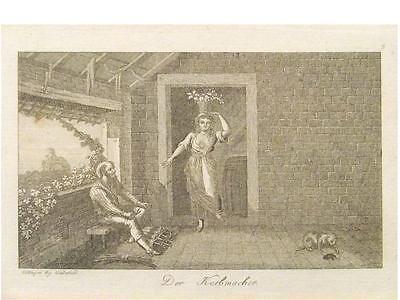 1 Orig.Kupferstich v.Wiederhold  DER KORBMACHER