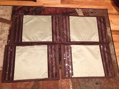 4 BROWN SAGE GREEN PLACEMATS THANKSGIVING TABLE EMBROIDERED WITH SEQUINS 18 X 12