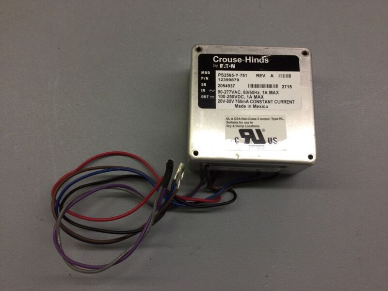 CROUSE-HINDS EATON LED LIGHT DRIVER PS2565-Y-751, REV A, AC/DC POWER INVERTER