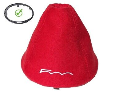 """Shift Boot + Frame For Fiat 500 Abarth Red Suede """"500"""" White Embroidery"""