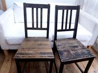 2 x black real wood chairs, vintage distressed look