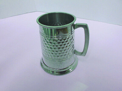 Sheffield Pewter Beer Mug Tankard Made in England - Small Hammered Design - Used
